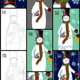 drawstepbystep drawing winter collage christmas