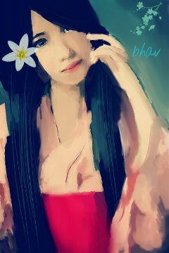 color splash emotions geisha people drawing