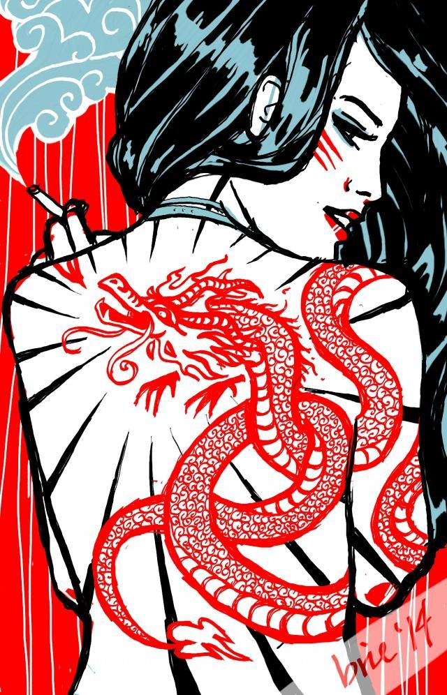The girl with the Chinese dragon tattoo for #dcdragon. I really liked doing the two-colour one-brush sketch last week for the anime challenge so here we are again :P steps will be in my gallery for those interested!  ps I am not advocating smoking...just in case anyone thought that. Just needed some smoke from mah dragon.  edit: thanks so much to everyone who voted me to fourth place! :) #art #red-blue #portraiture #blueeyes