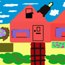 colorful flower drawart house