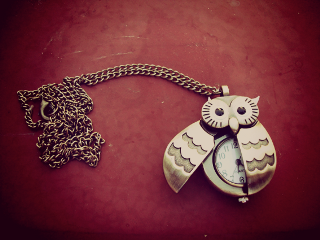 photography owl watch necklace