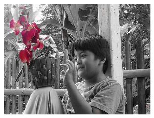 color splash black & white family photography