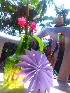 colorful cute waporigami flower nature