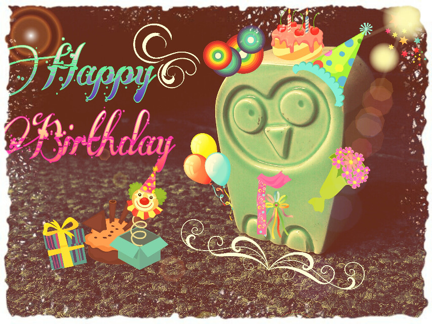 Hi Picsartists. My Second entry. please vote if u like the cute owl. thanks...Happy birthday Picsart